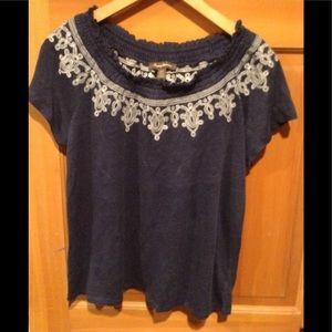 Tommy Bahama SP Peasant Style SL Blue Top